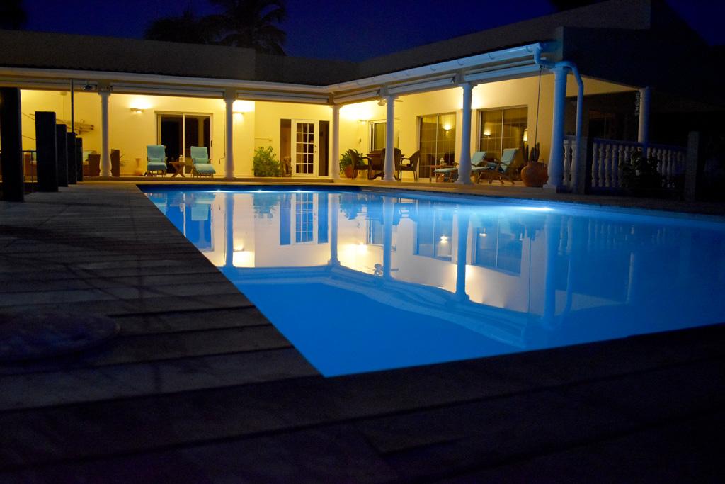 villa topaz pool-at-evening